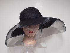 Hat - BLACK X-Wide Brim Kentucky Derby Funeral Church Full VEIL 17d26a1bbb9