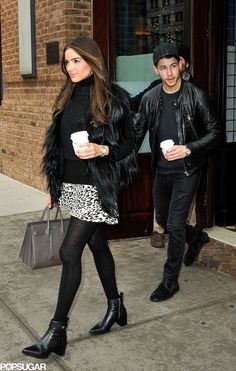 Nick Jonas let his girlfriend, Olivia Culpo, take the lead in NYC on Tuesday.