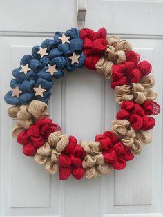 Patriotic burlap wreath American flag burlap wreath Americana