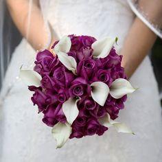 -wedding bouquet purple fall flowers