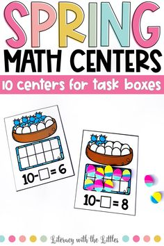 These spring themed math centers fit perfectly into photo storage boxes for wonderful grab and go centers. There are 10 centers that work on a variety of math skills so that you can pick and choose centers to differentiate to meet the needs of your students. These centers are hands-on and interactive. Each center comes in full color and ink saving black and white. These are perfect for math centers, morning tubs, or early finishers.