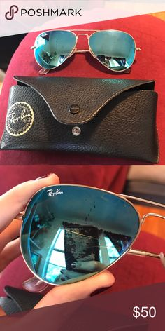 Ray ban mirror aviators Blue mirrored ray ban aviators. Slightly used conditions with minor scratches on the lenses that are pictured above but you CANNOT see them while wearing them. Authentic but I bought these so long ago all I have is the case they came in. PLEASE NO LOW BALLING! Ray-Ban Accessories Glasses