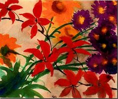 "Emil Nolde: ""Blühender Sommer"", c. Watercolour on Japan paper. - Bruun Rasmussen Auctioneers of Fine Art Emil Nolde, Art Floral, Floral Prints, Watercolor Flowers, Watercolor Paintings, Watercolors, Painting Flowers, Adult Art Classes, Colors"