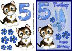 A really pretty 3D card for a 5 year old, has a pretty cute kitten, what child does not like kittens. Has a nice big number 5 a fairy and blue flowers.very easy to make Old Birthday Cards, Number 5, 5 Year Olds, Kittens Cutest, Blue Flowers, Card Making, Card Crafts, Letter Crafts, Old Greeting Cards