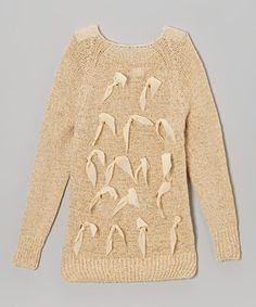 Look what I found on #zulily! Beige Bow Sweater - Toddler & Girls #zulilyfinds 25.00