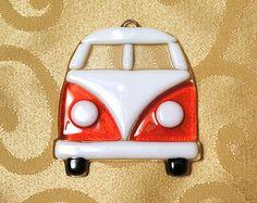 Fused Glass Volkswagen Van Suncatcher Ornament, choose your color