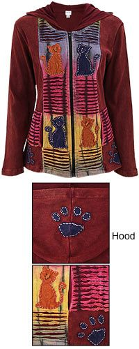 Fall in love with the adorable patchwork kittens on our lightweight jacket. Set in a rusty red hue, our hooded layer features a full zippered front, tie dye, front pockets, and a patchwork paw on the hood. $29.56
