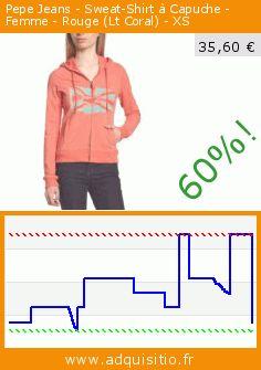 Pepe Jeans - Sweat-Shirt à Capuche - Femme - Rouge (Lt Coral) - XS (Vêtements). Réduction de 60%! Prix actuel 35,60 €, l'ancien prix était de 89,00 €. http://www.adquisitio.fr/pepe-jeans/sweat-shirt-capuche-femme-4