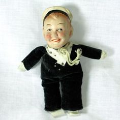 Antique-Pin-Cushion-Sailor-Doll-with-Composition-Head-French-Navy-Naval. My mom won this Exact doll today!
