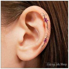 Temporary Tattoo 6 Flower Pink and Black Ear Tattoos Finger Tattoos - Tatuagem - Minimalist Tattoo Cute Tattoos For Women, Cute Small Tattoos, Mini Tattoos, Ear Lobe Tattoo, Inner Ear Tattoo, On The Ear Tattoo, Finger Tattoos, Body Art Tattoos, Crow Tattoos