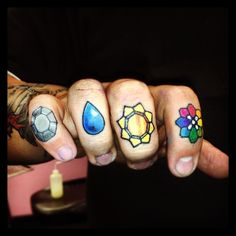 Pretty sure these are the coolest lower knuckle tattoos I've ever seen... Other 4 coming soon! #pokemon #pokemonbadges #original8badges #iwannabetheverybest #tattoo #knuckletattoo #lowerknuckletattoo #poketat #pokemontattoo @erykane by @pinklightsaber the greatest wife ever!