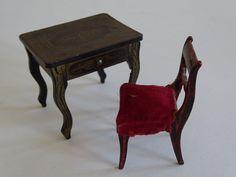 BIEDERMEIER Puppenstuben-Möbel - Boulle-Nähtischchen & Stuhl um 1860/70