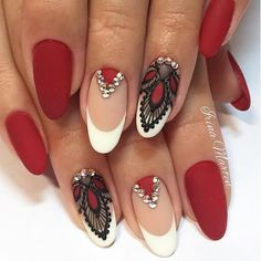 White and maroon nail art design A wonderful combination of french tips as well. - White and maroon nail art design A wonderful combination of french tips as well… – - Oval Nail Art, Oval Nails, Matte Nails, Red Nails, Hair And Nails, Acrylic Nails, Red Manicure, Coffin Nails, Red Black Nails