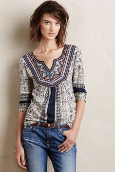 Silverpoint Peasant Top - anthropologie.com