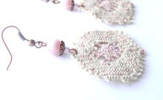 Romantic Old Pink and White Lace Earrings