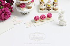 THREE Elegant Hot Fuschia Pink rose cupcakes ♡ ♡