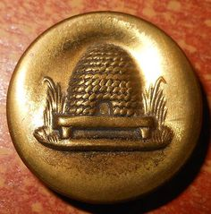 Vintage Brass Metal Picture Button - Beehive