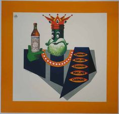 Carpano  Size:38 x 36 in / 96.5 x 91.5 cm  Description:green king orange border vintage poster horizontal white  $700