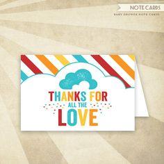 Retro Rainbow Baby Shower - Printable Folded Thank You Card #Etsy #HWTM #Rainbow #Shower