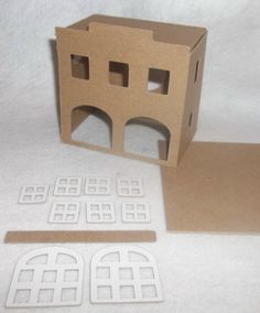 DIY Cardboard Putz Style Houses Fire by littlevillagehouses