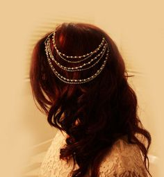 Golden pearl hair chain and 49 more unique wedding hair accessories from Etsy.