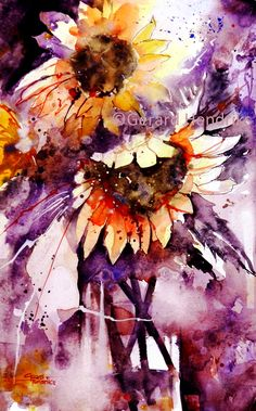 This is Februaries batch of watercolour paintings. A mixture of styles, subjects, colour, featuring some well-known as well as lesser know. Watercolor Sunflower, Sunflower Art, Watercolor Flowers, Watercolor Images, Abstract Watercolor, Watercolour Paintings, Watercolours, Great Paintings, Botanical Drawings