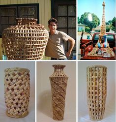 Upcycled cork vases - by Steven Leslie. Each one of Leslie's cork-creations uses several hundred wine corks – except for La Courk Eiffel, which is constructed from exactly 4,425. http://www.oneofacork.com/