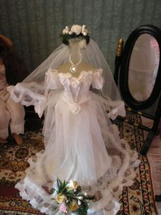 12th Miniature Beautiful White Wedding Gown/veil on Mannequin Dolls House( Made to order)