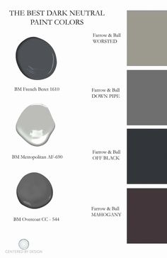 The Best Dark Paint Colors To Use for Your Home Interior Interior design article with advice on the best dark paint colors to use in your home. Best dark paint colors include Farrow & Ball Off Black and more. Best Gray Paint Color, Neutral Paint Colors, Paint Color Schemes, Exterior Paint Colors, Bedroom Paint Colors, Exterior House Colors, Paint Colors For Home, Dark Gray Paint, Charcoal Paint