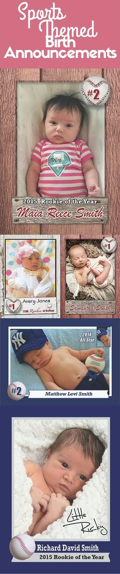 Create birth announcements for any sport that your family and friends will cherish!  http://www.customsportscards.com/select.cfm/Birth-Announcements/Birth-Announcements-2.5x3.5/ newborn photos, sports themed newborn photos #baby #photography #newborn