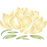"Lotus Blossom Stencil - (size 4""w x 2.75""h) Reusable Wall Stencils for Painting - Best Quality Lotus Flower Stencil Ideas - Use on Walls, Floors, Fabrics, Glass, Wood, Terracotta, and More…"