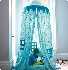 Kids Play Canopy and Cozy Reading Nook--use a hoola hoop and sheets to make it affordable