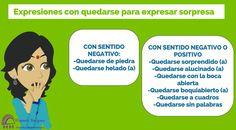 "Expresiones con ""quedarse"" para expresar sorpresa Spanish Expressions, Spanish Vocabulary, Screen Shot, Memes, 10 Pm, Idioms, Learn Spanish, Sayings, Vocabulary"
