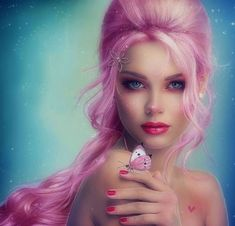 ~Emotional in Pink~ - woman, emotional, digital art, models, butterfly designs, creative pre-made, beautiful, fantasy, photomanipulation, pink hair, weird things people wear