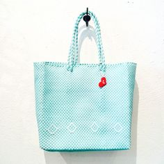Ginger and Sprout Woven Tote-Turquoise and White - Roberta Oaks, Hawaii
