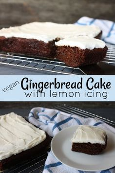 This Vegan Gingerbread Cake with Lemon Icing will be your new favorite treat. A light and moist, spiced cake with a layer of sweet, lemony icing. Vegan Dessert Recipes, Vegan Sweets, Dairy Free Recipes, Baking Recipes, Cake Recipes, Gluten Free, Vegan Gingerbread, Gingerbread Cake, Lemon Icing