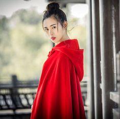 Vintage-Womens-Red-Hooded-Cape-Coat-Woolen-Long-Cosplay-Jackets-Outwear-152cm-H5