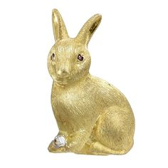 Ruby Diamond Gold Bunny Pin  | See more rare vintage Brooches at https://www.1stdibs.com/jewelry/brooches/brooches