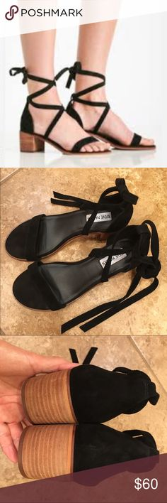 """Steve Madden Rizza Black suede sandals, size 7.5, wraparound suede straps, 2"""" stacked heel, worn once, great condition,no trades Steve Madden Shoes Sandals"""