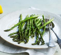 Need some vibrant spring greens to go with your main meal? Try our super simple roasted asparagus recipe to showcase seasonal veg at its finest Bbc Good Food Recipes, New Recipes, Easter Recipes, Lunch Recipes, Vegan Vegetarian, Vegetarian Recipes, Happy Foods, Asparagus Recipe, Latest Recipe