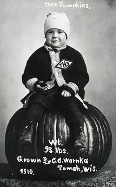 Boy Sitting on Pumpkin by Wisconsin Historical Images, 1910