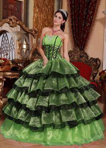 Classy Zebra Print Corset Ruffled Multi-color Dress for Quince