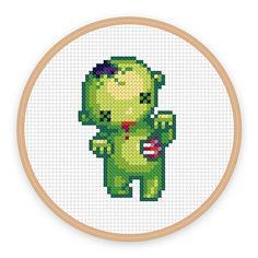 BRAAAINS ZOMBIE: a pixel art counted cross stitch pattern - digital download - printable pdf file