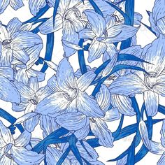 Seamless Floral Pattern with Lilies