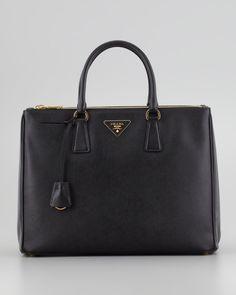 Prada Saffiano Executive Tote Bag, Black - Neiman Marcus