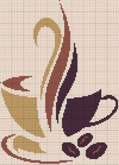 Кофейные мотивы: вышивка. Большая подборка схем