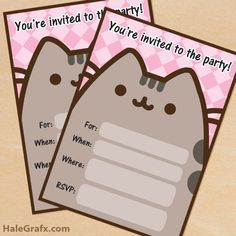 Love Cats Valentine Cupcake Tutorial - Perfect For Your SweetheartCat cupcakes ♡Free Printable Pusheen Party Invitation - All Invitation. Pusheen Birthday, Cat Birthday, Birthday Parties, Frozen Birthday, Tea Parties, Kitty Party, Gato Pusheen, Pusheen Stuff, Party Invitations Kids