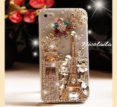 Crystal iphone 5 case bling flowers & eiffel tower perfume