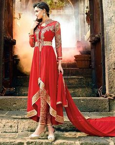 USD 72.82 Red Georgette Designer Anarkali Suit 54379