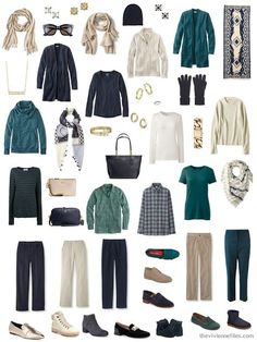 an accessorized 4 by 4 Wardrobe in navy, beige, and teal